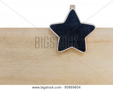 Wooden Clipboard Star Shape On Wood Board