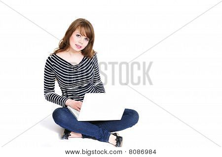 Girl Using Notebook