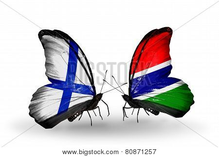 Two Butterflies With Flags On Wings As Symbol Of Relations Finland And  Gambia