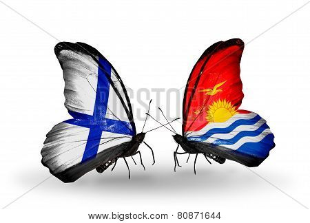 Two Butterflies With Flags On Wings As Symbol Of Relations Finland And Kiribati