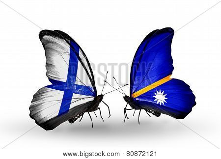 Two Butterflies With Flags On Wings As Symbol Of Relations Finland And Nauru