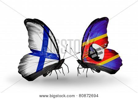 Two Butterflies With Flags On Wings As Symbol Of Relations Finland And Swaziland