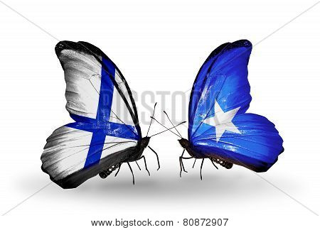 Two Butterflies With Flags On Wings As Symbol Of Relations Finland And Somalia
