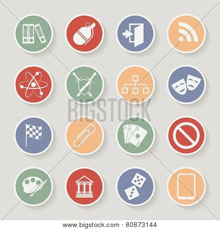 Universal Round Icons For Web and Mobile. Vector illustration