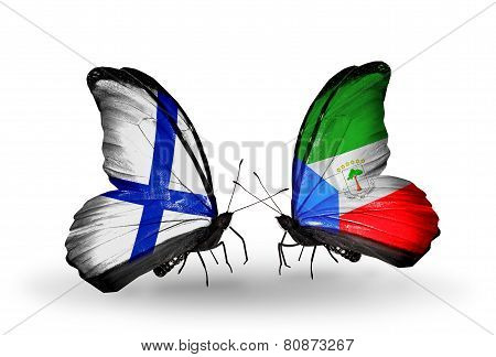 Two Butterflies With Flags On Wings As Symbol Of Relations Finland And Equatorial Guinea