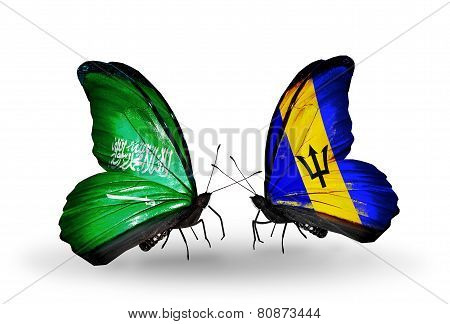 Two Butterflies With Flags On Wings As Symbol Of Relations Saudi Arabia And Barbados