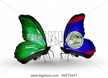 Two Butterflies With Flags On Wings As Symbol Of Relations Saudi Arabia And Belize
