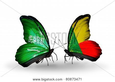 Two Butterflies With Flags On Wings As Symbol Of Relations Saudi Arabia And Benin