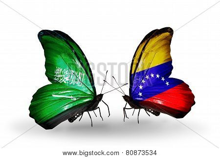 Two Butterflies With Flags On Wings As Symbol Of Relations Saudi Arabia And Venezuela