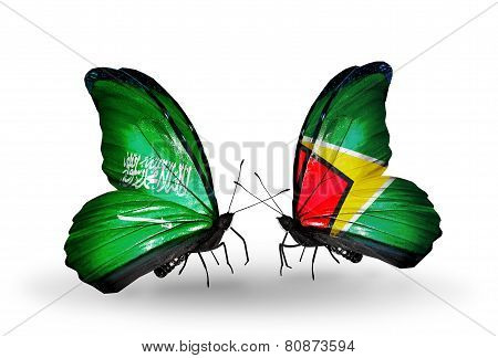 Two Butterflies With Flags On Wings As Symbol Of Relations Saudi Arabia And Guyana