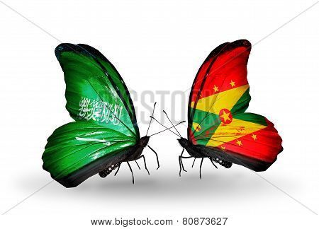 Two Butterflies With Flags On Wings As Symbol Of Relations Saudi Arabia And Grenada