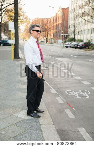 Blind Man Crossing Road