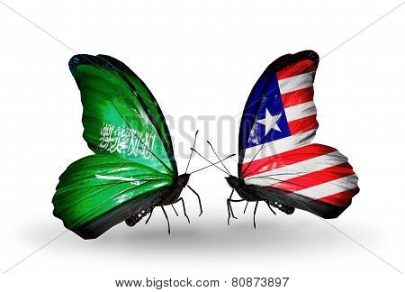 Two Butterflies With Flags On Wings As Symbol Of Relations Saudi Arabia And Liberia