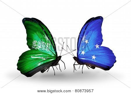 Two Butterflies With Flags On Wings As Symbol Of Relations Saudi Arabia And Micronesia