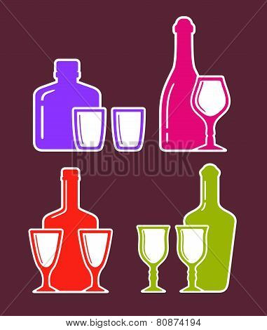 Colorful Set With Alcohol Bottles And Glasses