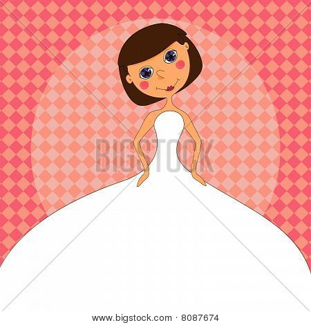 Wedding invitation with a cartoon Bride in a white wedding dress