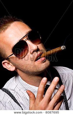 Man Smoking Cigar