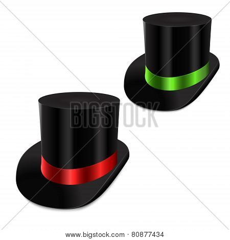 Set Of Gentleman Hat Cylinder With Ribbon.