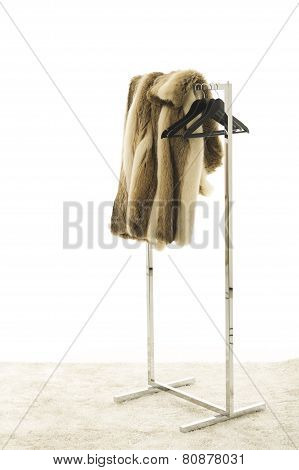 Fur Coat Draped Over Clothing Rack