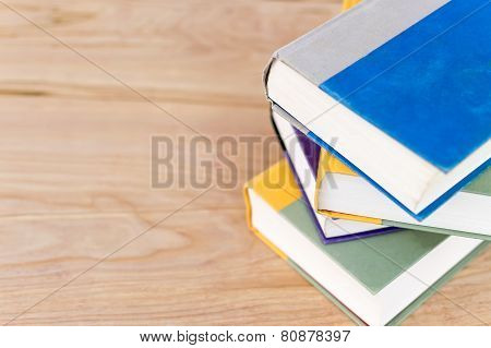 Pile Of Books With Right Side Justification