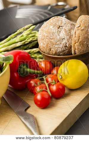 Healthy Fresh Vegetables And Wholegrain Rolls