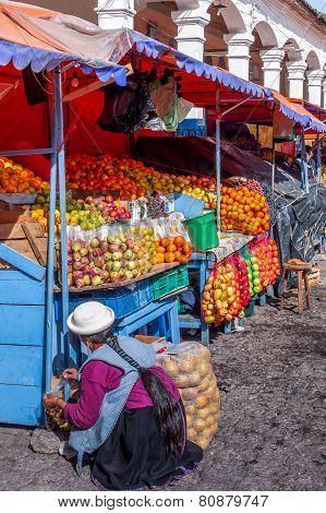 Market Stall In Ecuador