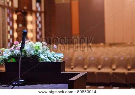 Microphone Standing On A  Table