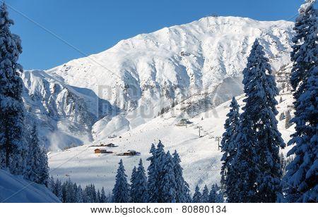 Ski resort with ski huts in Tyrol Mayrhofen