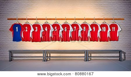 Row of Red and Blue Football Shirts 1-11