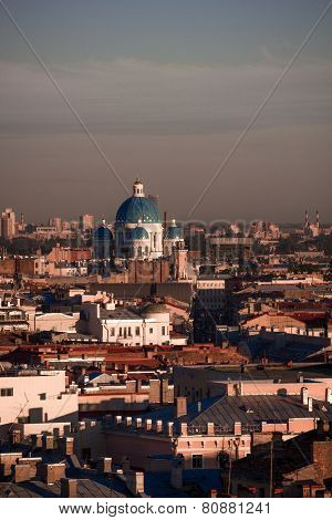 Panorama of St Petersburg overlooking the Trinity and St. Nicholas Cathedra
