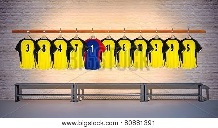 Row of Football Yellow and Blue Shirts 3-5