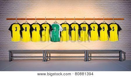Row of Football Yellow and Green Shirts 3-5