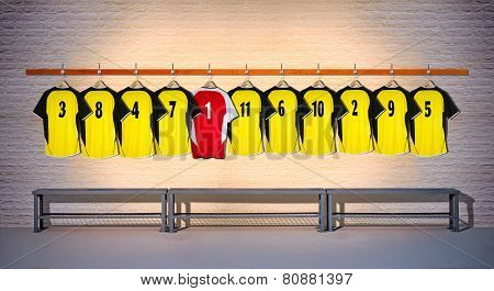 Row of Football Yellow and Red Shirts 3-5