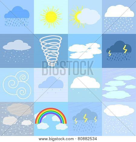 Flat Icons Of Weather