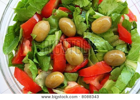 Healthy Vegetarian Salad On The Glass Plate