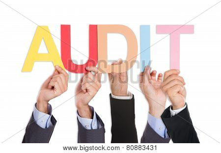 Businesspeople Hands With Text Audit
