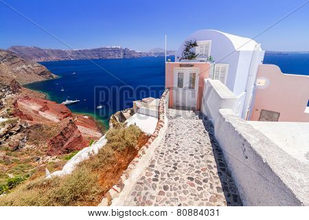Architecture of Oia town on Santorini island, Greece