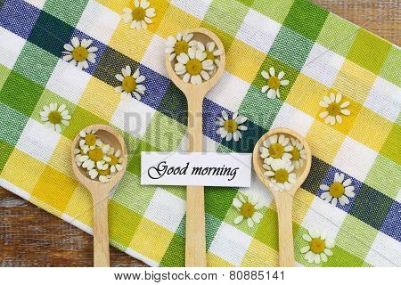 Good morning card with fresh chamomile flowers on wooden spoons on checkered cloth