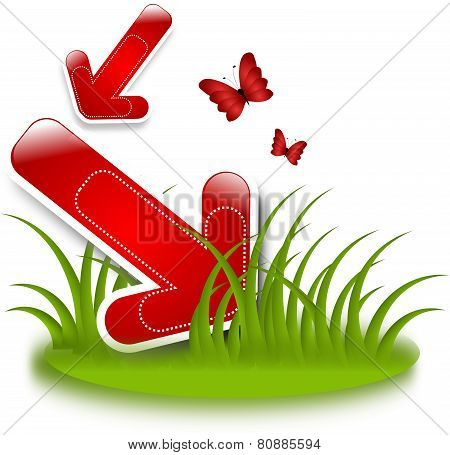 Red Arrow In Grass