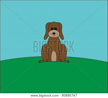 brown dog on a hill vector