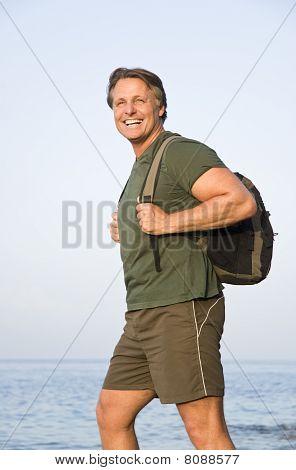 man wearing rucksack