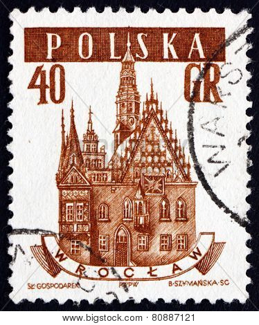 Postage Stamp Poland 1958 Town Hall, Wroclaw