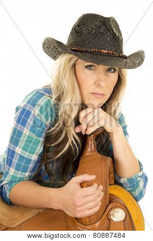 Cowgirl Blue Shirt Black Hat Lean On Saddle Look Smiling