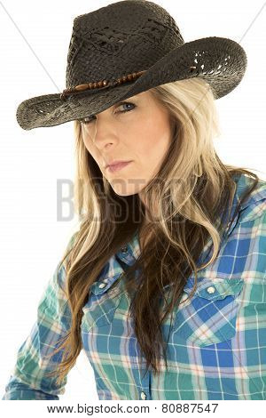 Cowgirl Blue Shirt Close Black Hat Looking