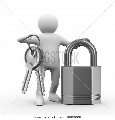 Man With Keys And Lock On White Background. 3D Image
