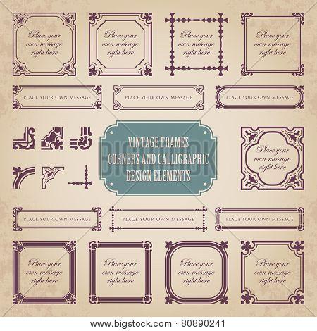 Vintage frames, corners and calligraphic design elements - set 1
