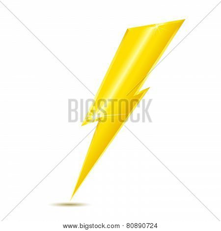 Lightning bolt icon isolated on white background.