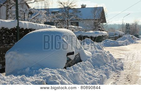Parked Snowbound Car