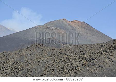 Mountain Road On Etna Volcano. Mount Etna Landscape In Sicily, Italy.