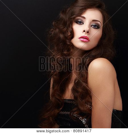 Beautiful Female Model In Black Dress Looking Calm